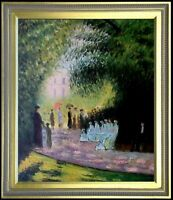 Framed, Claude Monet The Parc Monceau Repro, Hand Painted Oil Painting 20x24in