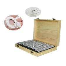 100Pcs Coin Capsules Wooden Display Storage Box Case Holder Collectible Supplies