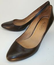 Aldo Womens EU 35 Brown Leather Slip-on Pumps Heels Casual Work Shoes