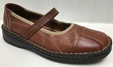 Women's Josef Seibel Brown Leather Mary Jane Stretch Strap Comfort Shoes Sz 38