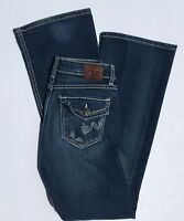 BKE Buckle Stella 27 x 31.5 Jeans Denim Dark Wash Stretch Boot Cut Distressed