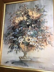 Vintage Oil Painting Flowers In Vase Signed