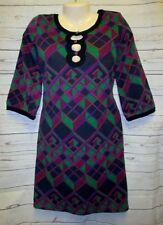 NWT BCBG M Dress Argyle Max Azria Shift Fall New Winter Key Hole Bust Green New