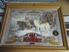 Old Milwaukee Beer Sign Mirror Wildlife Collection Wisconsin Wolves Wolf Bar Pub