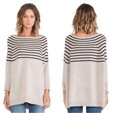 360 Cashmere Margot Sweater Womens Size XS Beige Blue Stripe Pullover Boat Neck