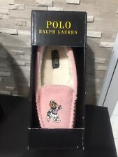 Ralph Lauren Girls Slippers Teddy Bear Sz 2 Desmond Moccasin Pink