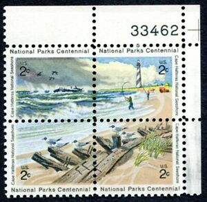 NATIONAL PARKS CENTENNIAL 4 se-tenant Scott 1451a US 2-cents 1972 PLT BLK (396b)