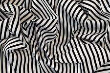 BEETLE JUICE BLACK WHITE STRIPES STRETCH COTTON ELASTANE TWILL FABRIC