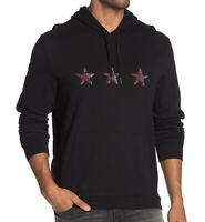 John Varvatos Star USA Men's Long Sleeve Faded 3 Stars Pullover Hoodie Black