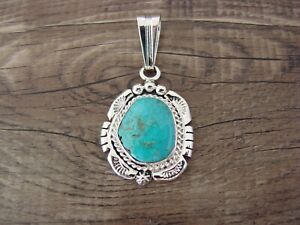 Navajo Indian Sterling Silver Turquoise Pendant by Samuel Yellowhair