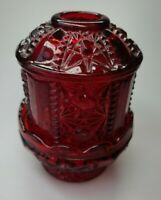 """Vintage 1950's Indiana Glass Ruby Red Stars & Bars Design 2 Piece Fairy Lamp 7"""""""