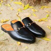 Mules Style Handmade Slip On Horse Bit Genuine Calf Leather Slipper Shoes