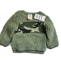 First Impressions Camo Green Fuzzy Sherpa Fleece Sweatshirt Boys 6-9 Months