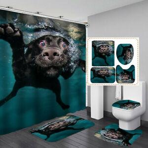 Funny Swimming Dog Shower Curtain Bath Mat Toilet Cover Rug Bathroom Decor