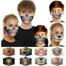 Women Men Kids 3d Fun Mouth Mark Fabric Facemask Washable Hip Hop Party+2 Filter