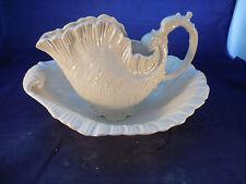 lg. ceramist made bowl and pitcher, shell shaped vintage Crest Mold 1985