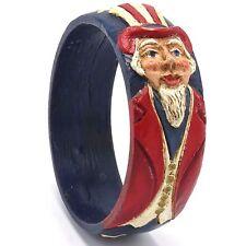Vintage Uncle Sam Bangle Bracelet Signed by Jim Shore JS Carved Resin 2.75 Dia