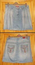 MISS SIXTY mid blue faded look denim mini short skater kilt jeans skirt L 14 42
