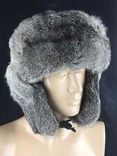 Russian Ushanka Rabbit Fur Winter Hat Trapper Bomber Ear Flap