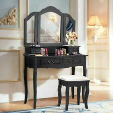 Folding Dressing Makeup Vanity Set Table With 4 Drawers Stool and Mirror Black