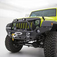 Black Full Width Front Bumper+D-Ring+Winch Plate fit Jeep Jeep 07-18 JK Wrangler