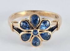 Genuine 9ct SOLID Yellow Gold Natural Sapphire DAISY Blossom Ring size N