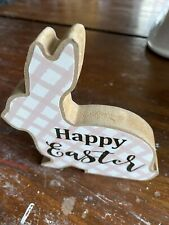 Pink Bunny Wood Block Sign For Tiered Tray Or Shelf Sitter Happy Easter Spring