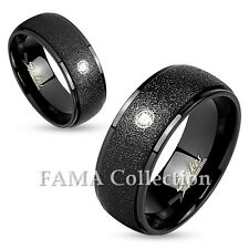 FAMA Stainless Steel Sanded Center with Clear Gem Black IP Ring Select Size