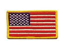 USA FLAG - YELLOW BORDER EMBROIDERED SEW ON IRON ON PATCH BIKER