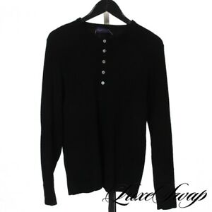 #1 MENSWEAR Ralph Lauren Purple Label 100% Cashmere Black Henley Rib Sweater L