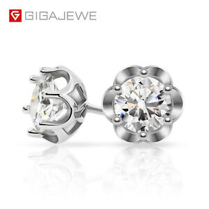 1.2ct 5.5mm Round Cut EF  Moissanite 925 Silver Earing Plated 18K  Push Back