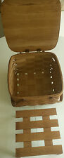 "Homemade Signed BASKETVILLE 13 X 13 X 8"" Woven Ash Picnic Basket w/Divider Tray"
