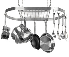 """NEW STAINLESS OVAL HANGING POT RACK MSRP $399 32"""" x 17""""  5/YR WARR  LRG GOURMET"""