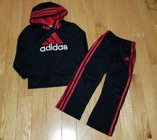 Boys ADIDAS 2 Piece Track Suit, Pants & Hoodie Sweatshirt Sz 5 Black & Red