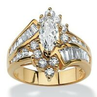 18K Gold Plated Marquise Cut White Topaz 925 Silver Wedding Engagement Ring Gift