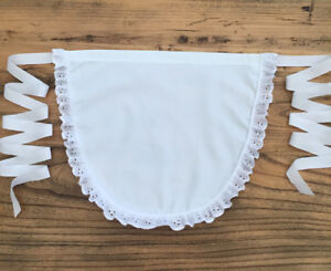 Childrens White Broderie Anglaise Waist Pinny Apron - Victorian Edwardian School