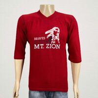 Vintage Mt. Zion Braves Football Jersey T-shirt MEDIUM Men's Red 3/4 Sleeve