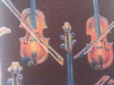 D'EM DEM CRAZY BrownOrange Violin Fiddle Bow Musical Music Band Neck Tie USA