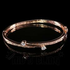 18k Rose Gold Simulated Lab Cubic CZ Womens Ladies Bangle Fasion Bracelet BCZ7R