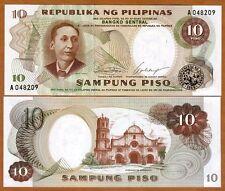 Philippines, 10 Piso, ND (1969), Pick 144 (144a), A-Prefix, UNC
