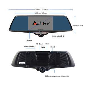 360° Car DVR Panoramic 5'' Dash Camera Recorder Rear View Mirror 1080P AU STOCK