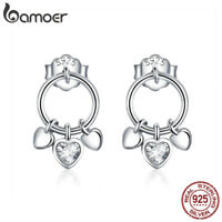 BAMOER S925 Sterling Silve Stud earrings With CZ For Women Palpitation Jewelry