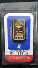 1980s 5 Gram PURE 24K GOLD ENGELHARD 999.9  Bullion Certified Sealed Assay Rare