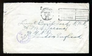 p212 - VICTORIA BC 1941 Cover to Officer in England. HMS Tarana. POSTAGE DUE