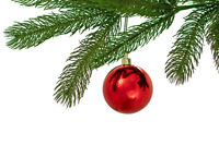 Red Christmas Ball Ornaments Hanging Tree Decorations Picks Set of 12 - 3in