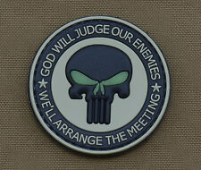 """PVC / Rubber Glow in the Dark Patch """"God Will Judge"""" with VELCRO® brand hook"""