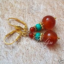 Round Gold Plated Leverback Earrings Red Carnelian Agate Green Turquoise Natural