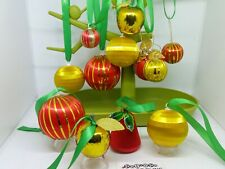 12x 1970s 3-6cm Vintage RED & GOLD Spun silk baubles,  Christmas decorations