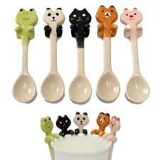5PCS Cartoon Animal Ceramic Hanging Coffee Spoon Milk Tea Soup Spoon