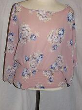 New Vivace USA Mauve light pink multi Cropped Smock Waist Tunic Blouse Size M